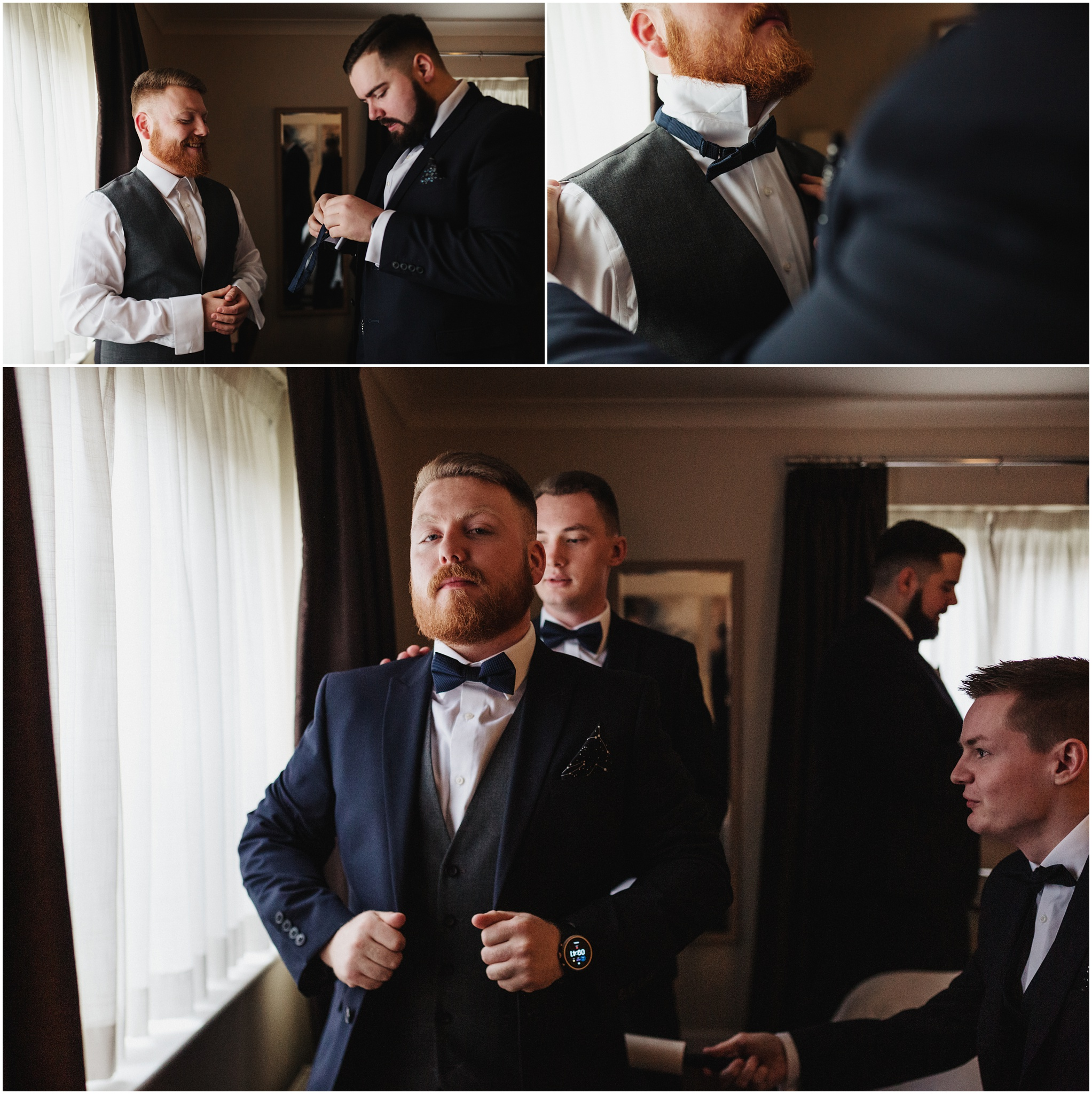 The groomsmen getting ready in their hotel room next to the window