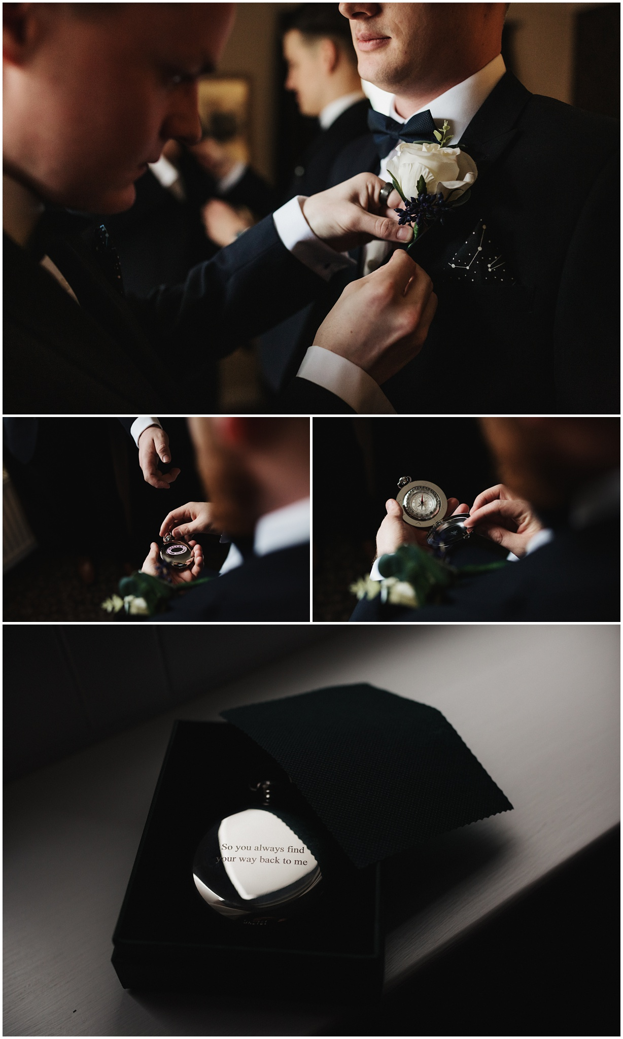 The groomsmen attach the button holes and the groom receives a compass as a gift