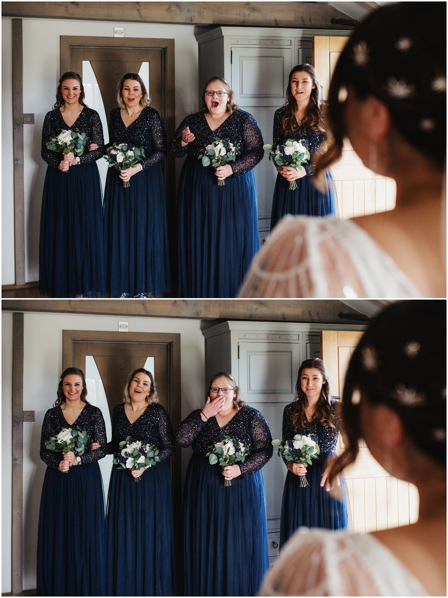 The bridesmaids react to seeing the bride in her dress for the first time