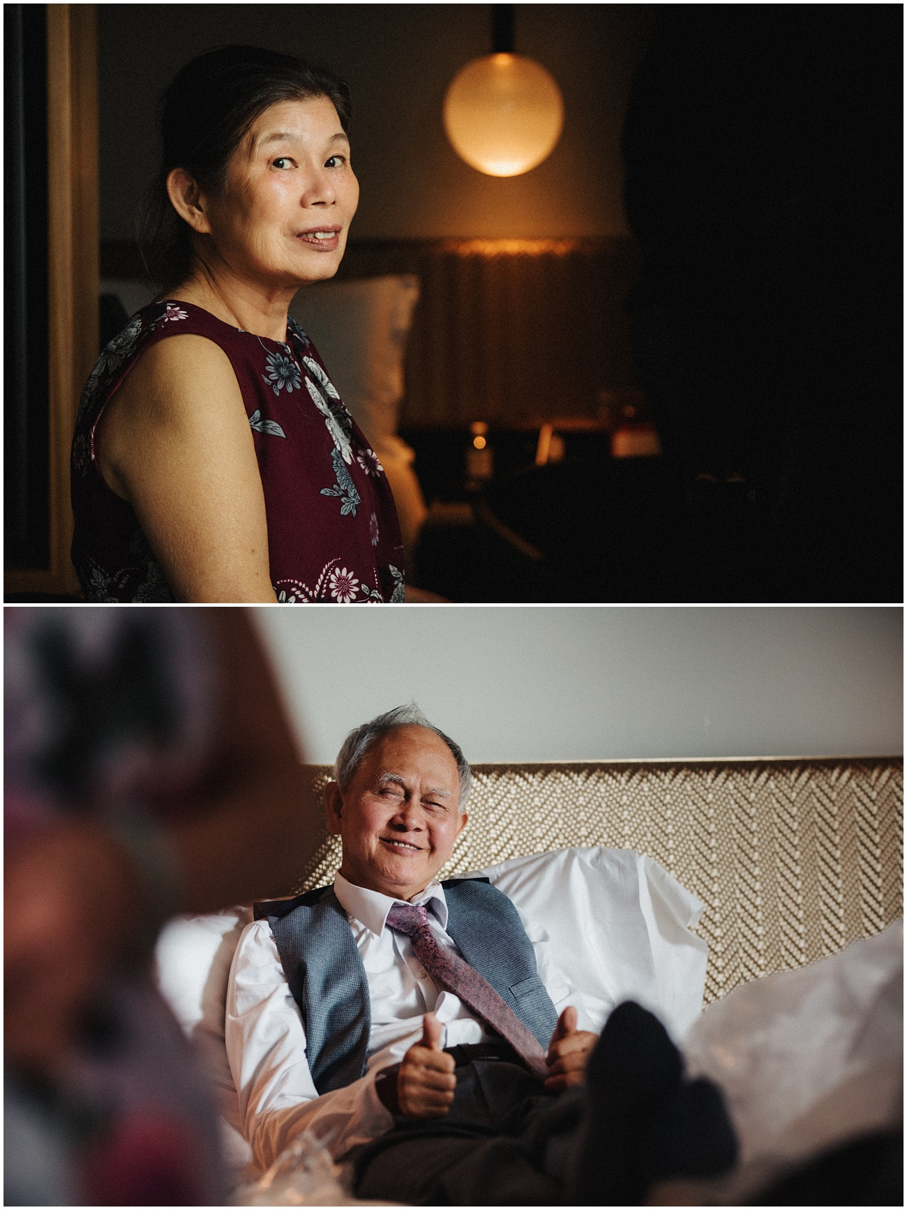 Portraits of the brides parents in the hotel room