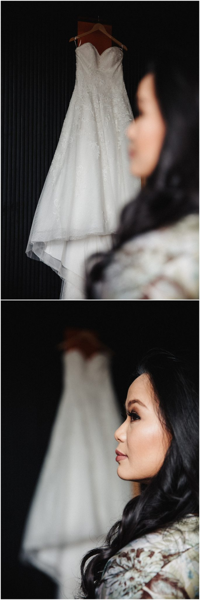 A portrait of the bride and the wedding dress hanging on the wall