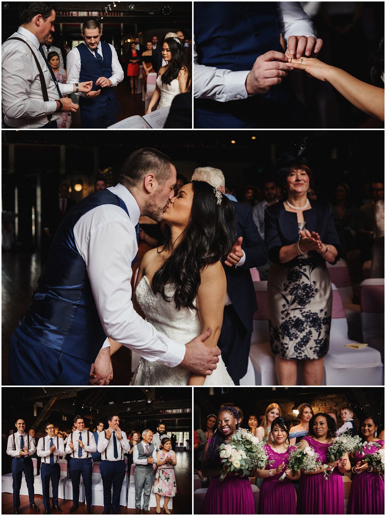 The exchange of the wedding rings and the first kiss at the couple tie the knot