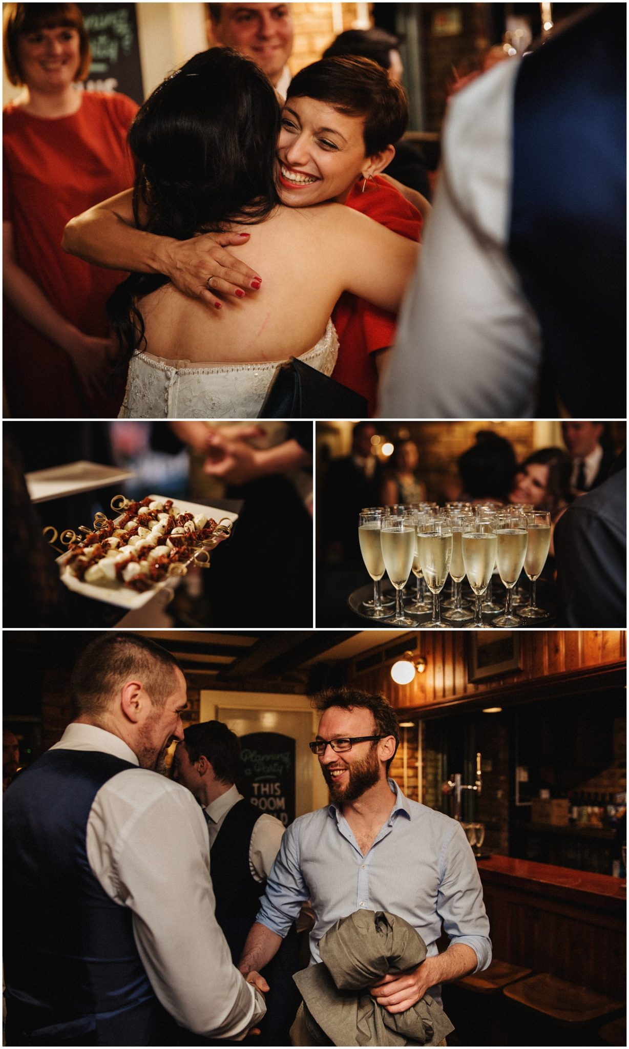 The wedding guests congratulate the bride and groom during drinks and canapes