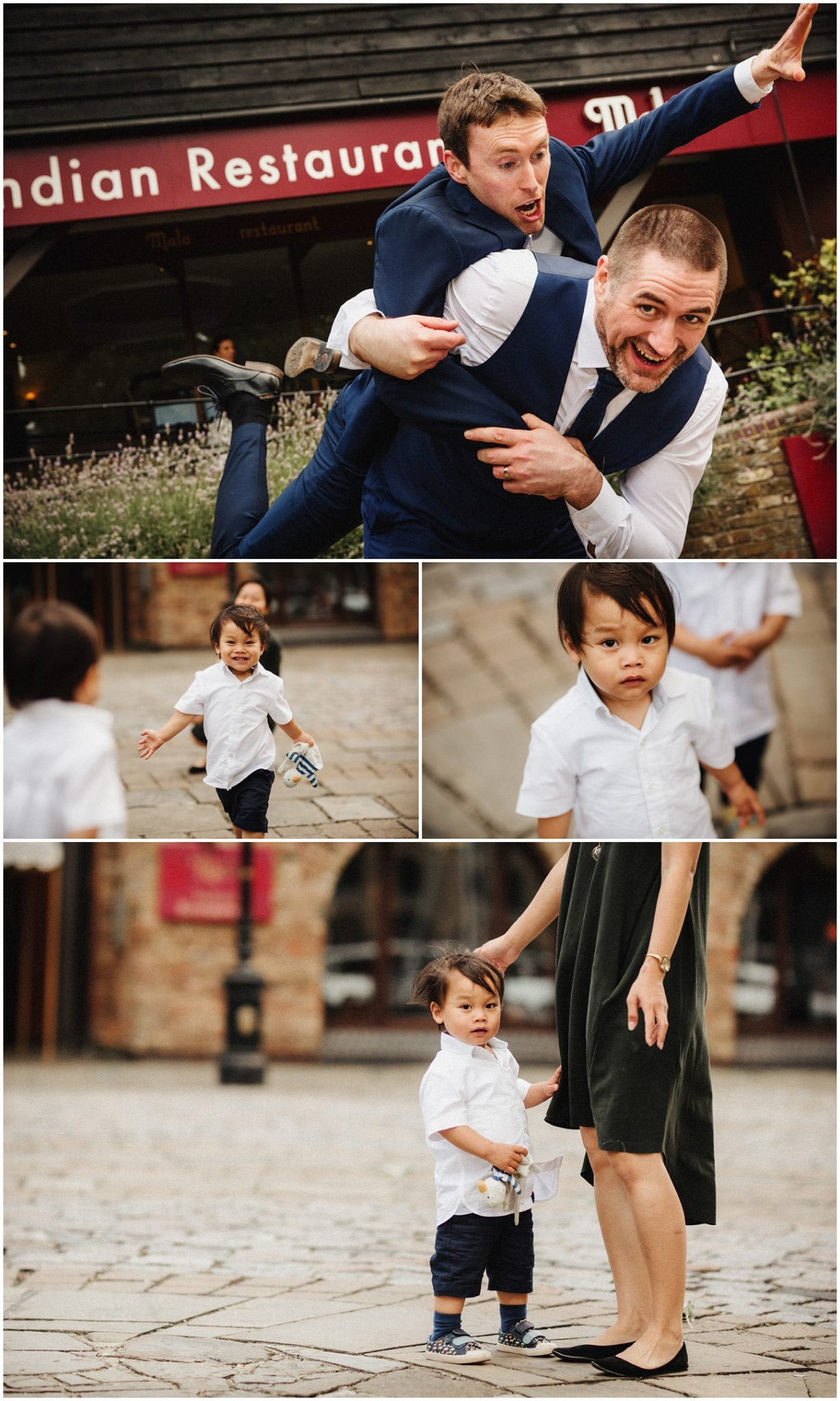 The groomsmen have fun outside the Dickens Inn and the kids join in