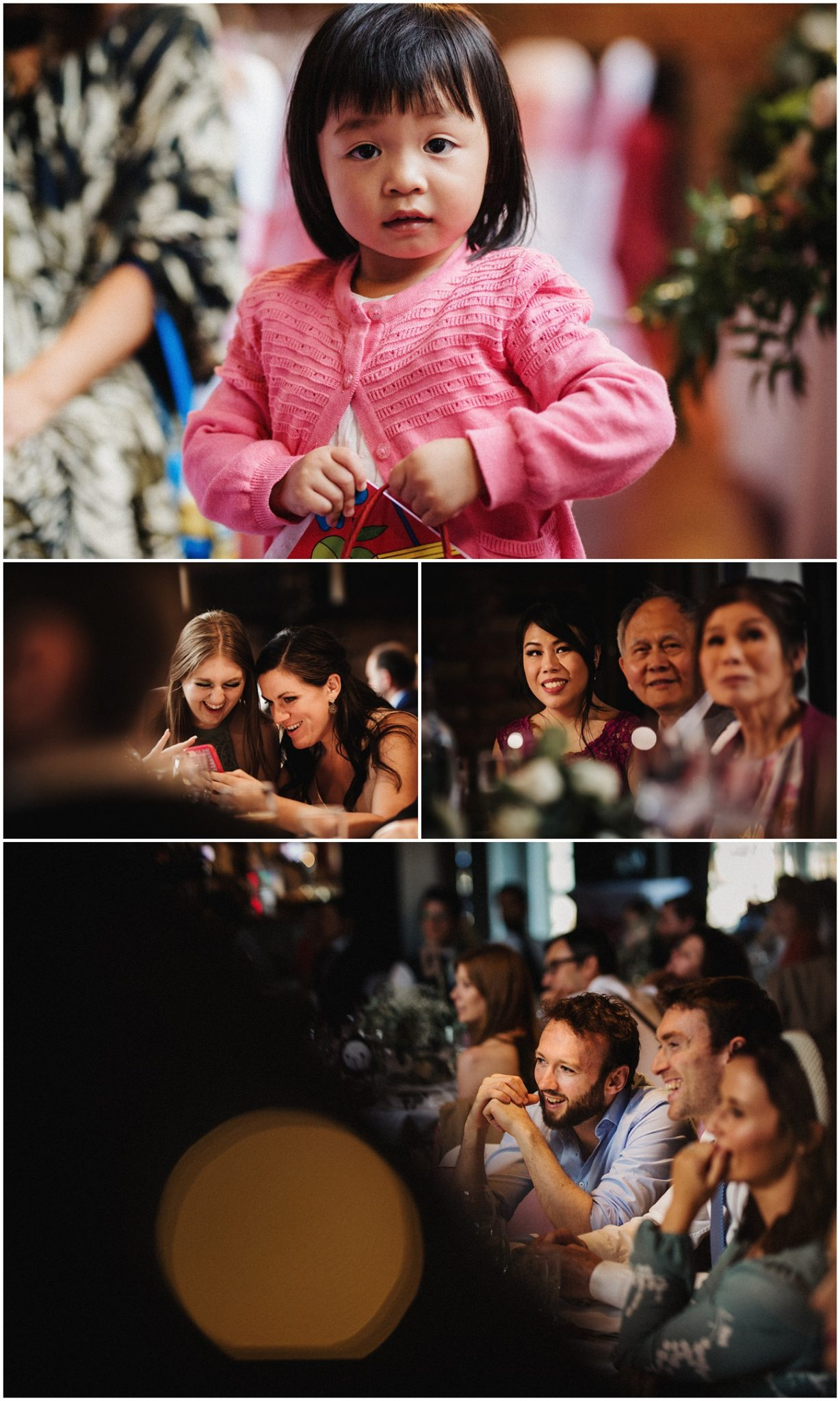 Shots of the wedding guests having fun at their tables during the wedding breakfast