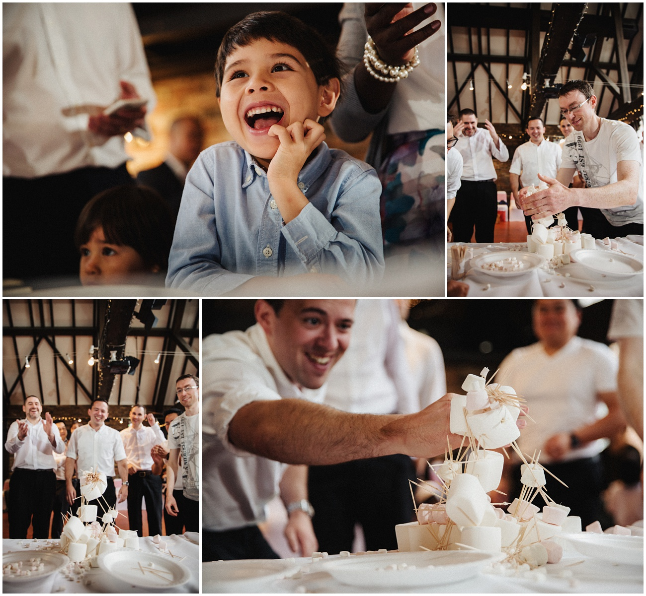 The groomsmen build a tower made from marshmallows and toothpicks