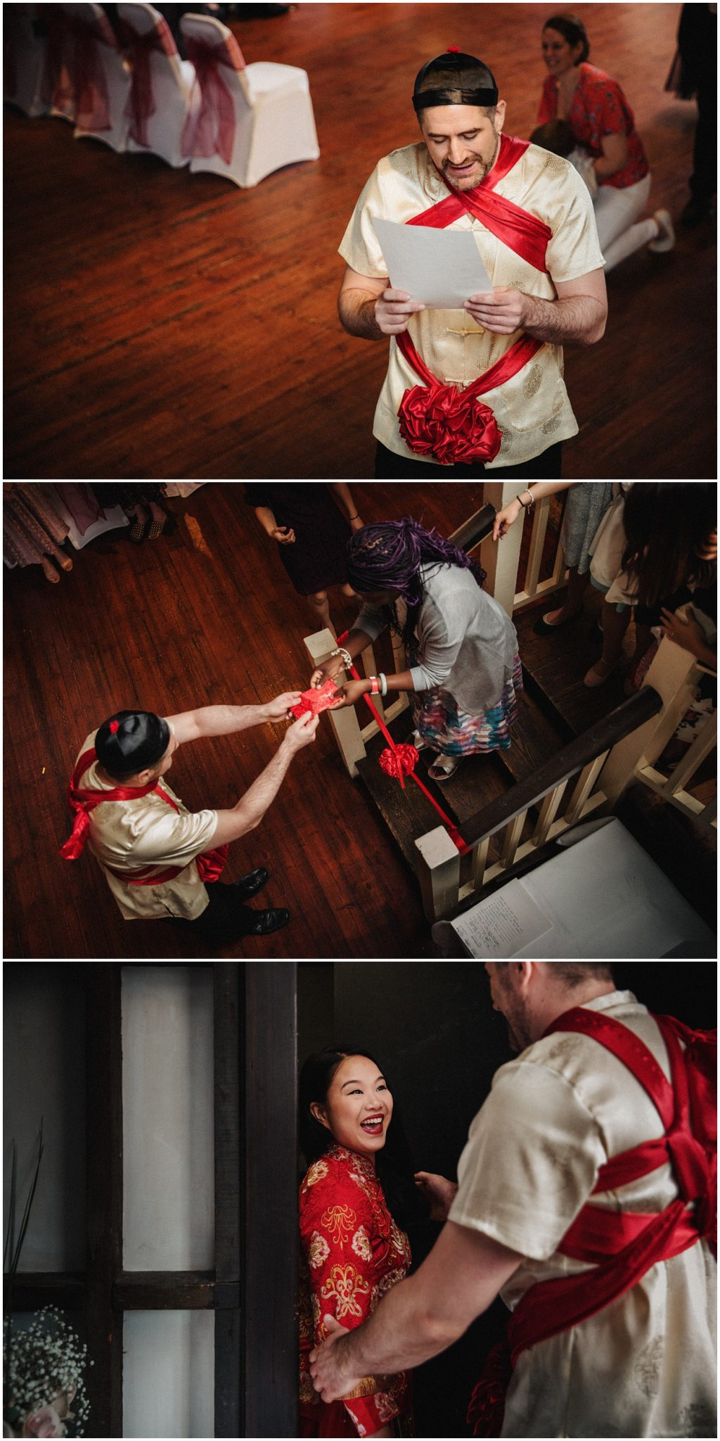 The groom waits at the bottom of the stairs and then sees his bride for the first time