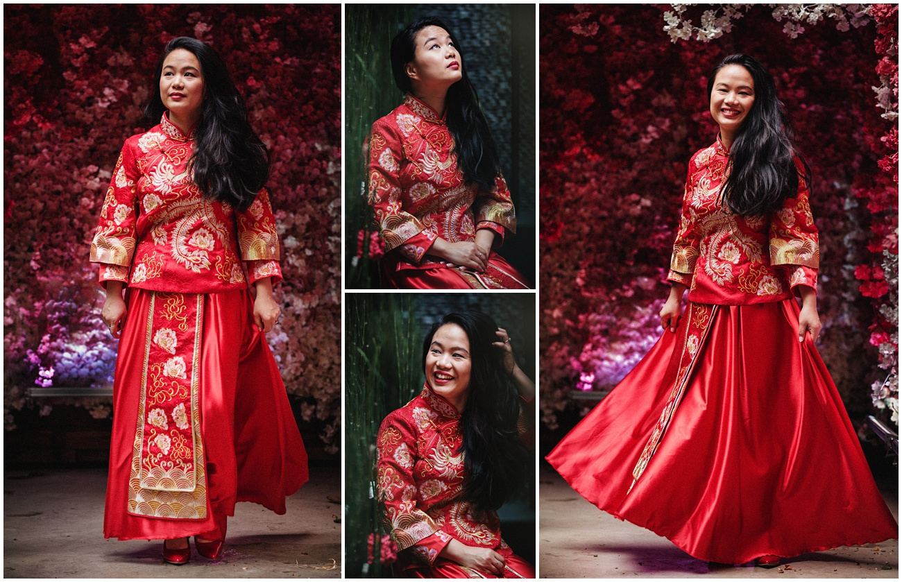 The bride in her Chinese traditional dress
