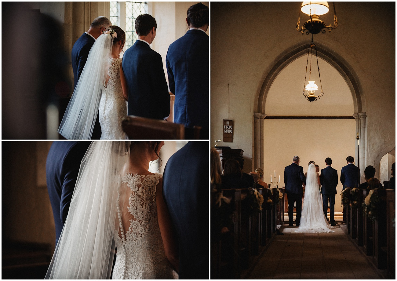 The back of the wedding dress and rear views of the ceremony from the back of the church