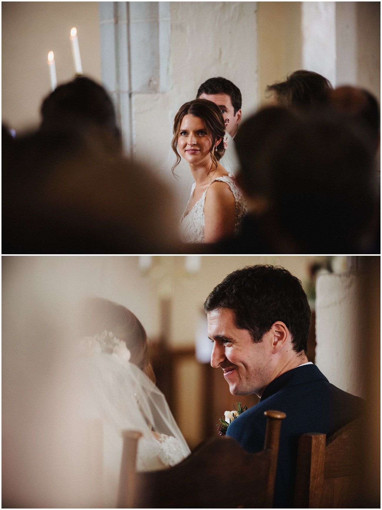 Portrait of the bride and groom during the ceremony