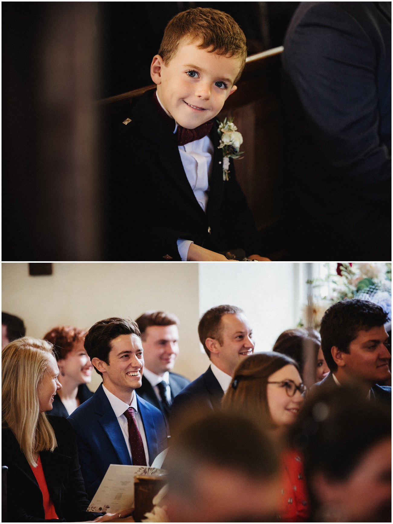 Images of the wedding guests laughing during the ceremony