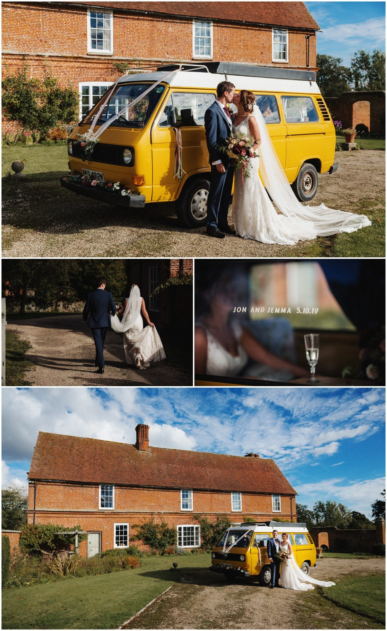 The bride and groom with their wedding campervan back at the great lodge