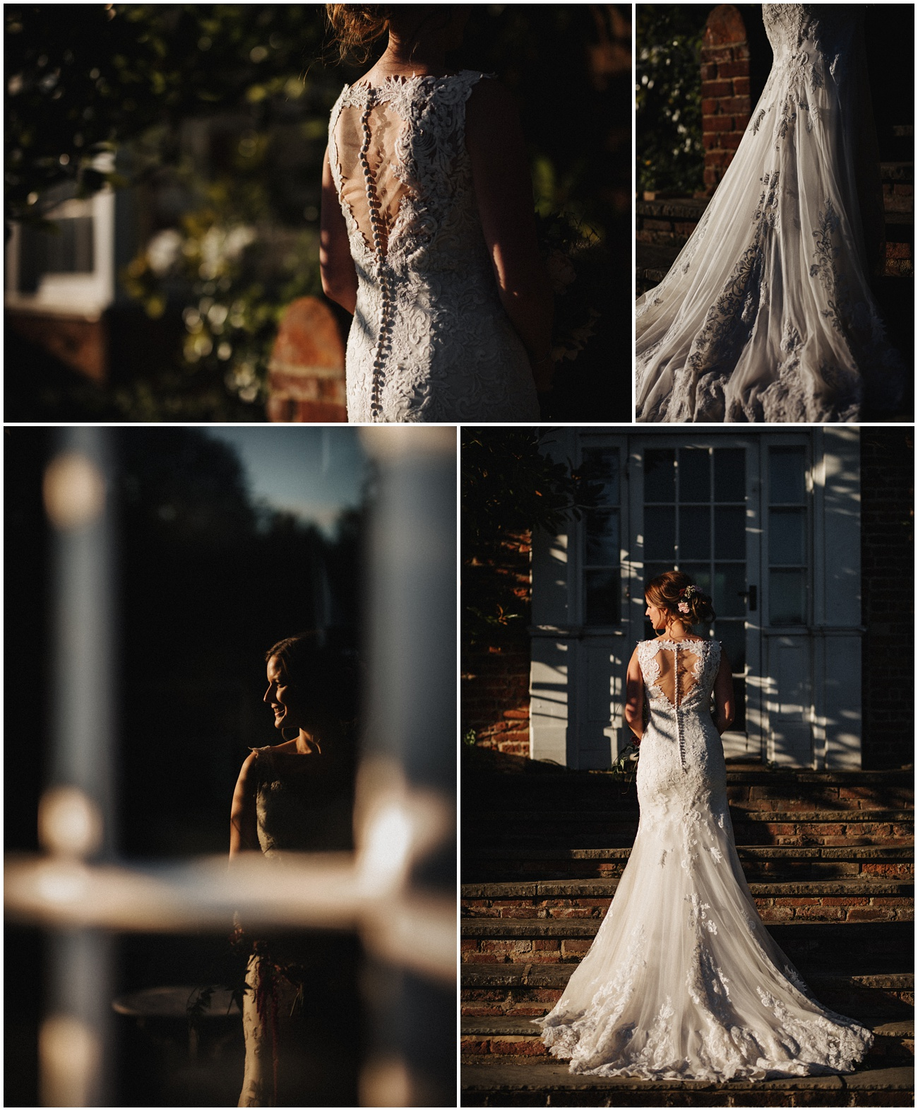 Shots of the bride in her wedding dress in the sunshine