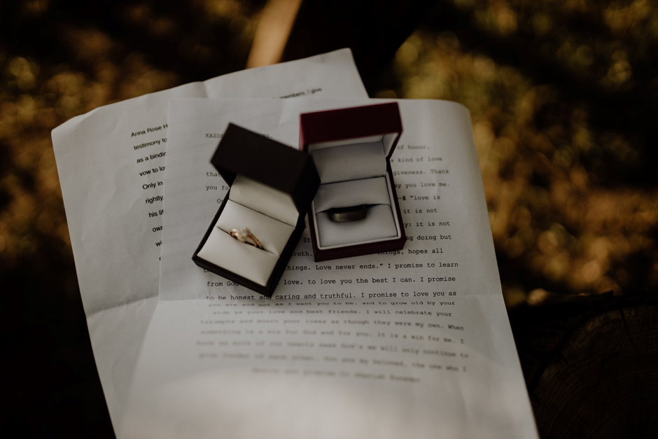 Wedding rings sitting on top of paper wedding vows