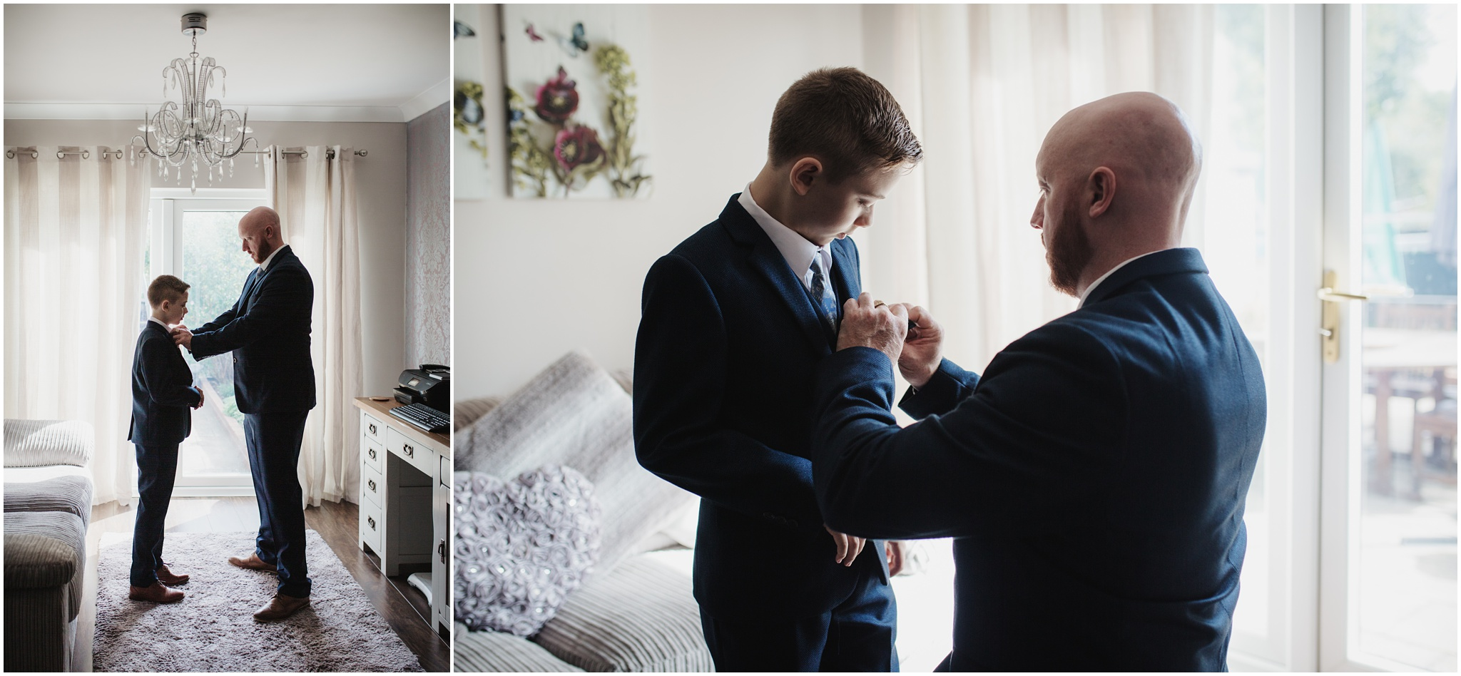 The Rochford Hotel wedding photography - the groom & son getting ready