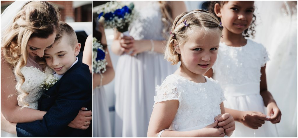The Rochford Hotel wedding photography - flower girls with bride and her son
