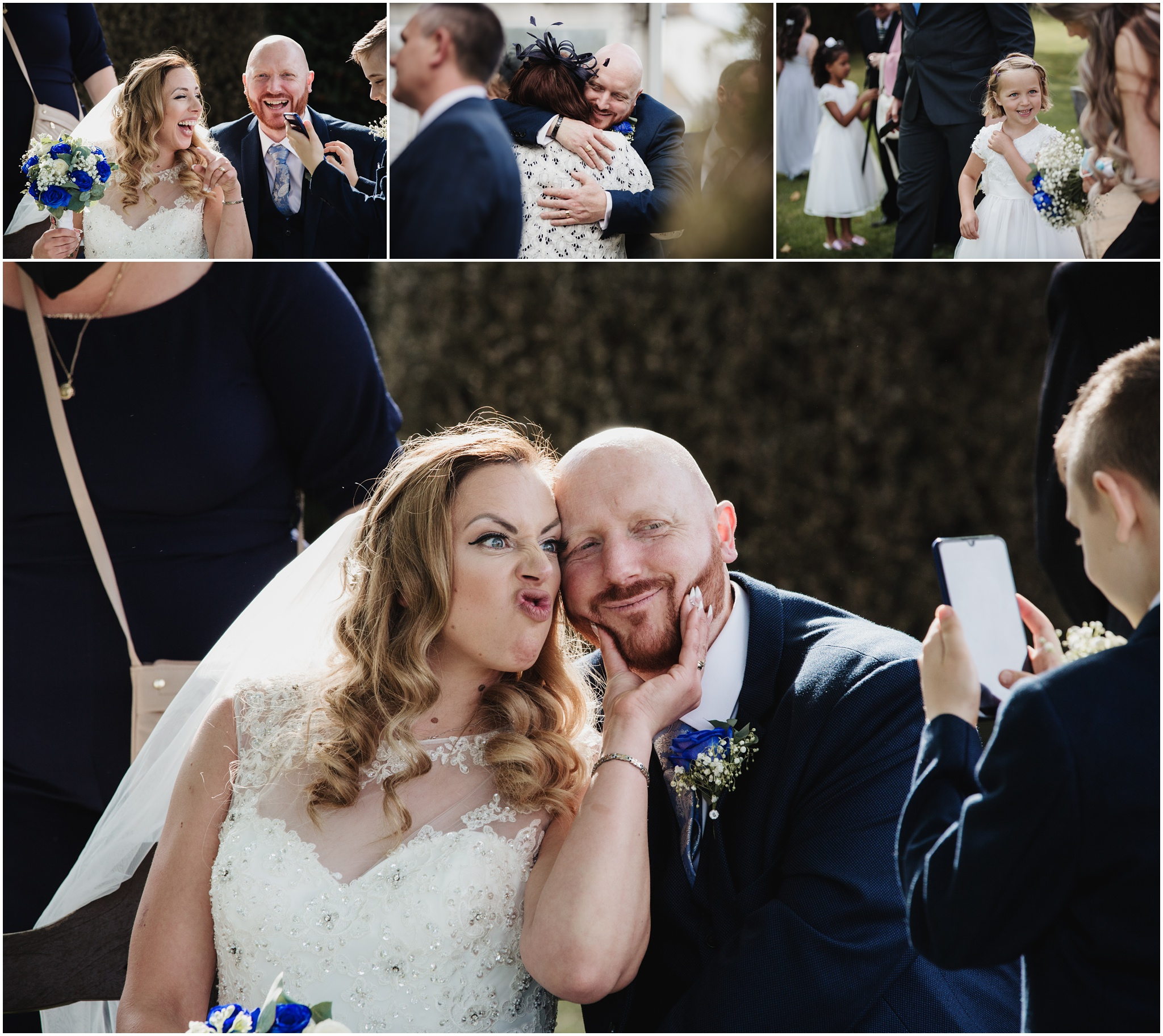 The Rochford Hotel wedding photography - The bride and groom have fun in the garden