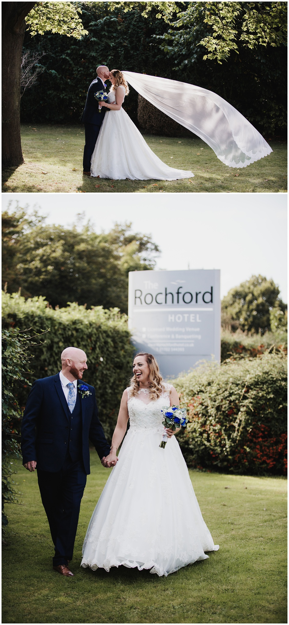 The Rochford Hotel wedding photography - bride and groom walking