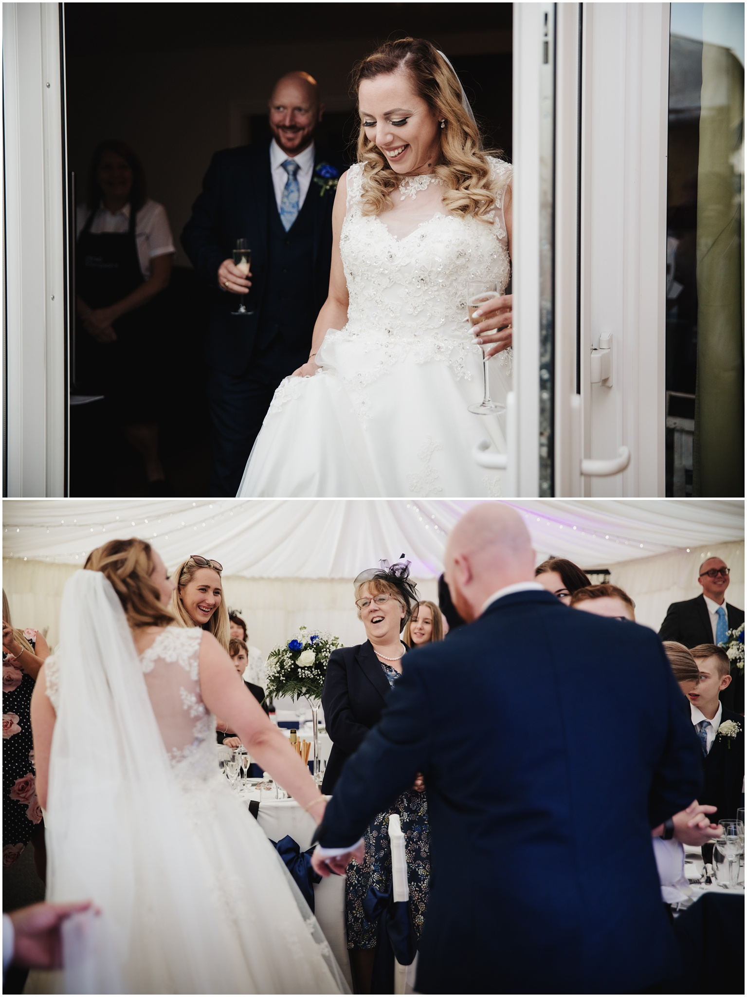 The Rochford Hotel wedding photography - Bride and groom enter reception room