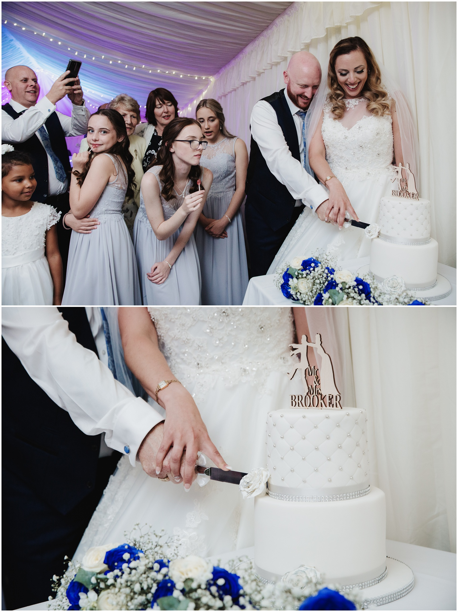 The Rochford Hotel wedding photography - Cutting of the cake