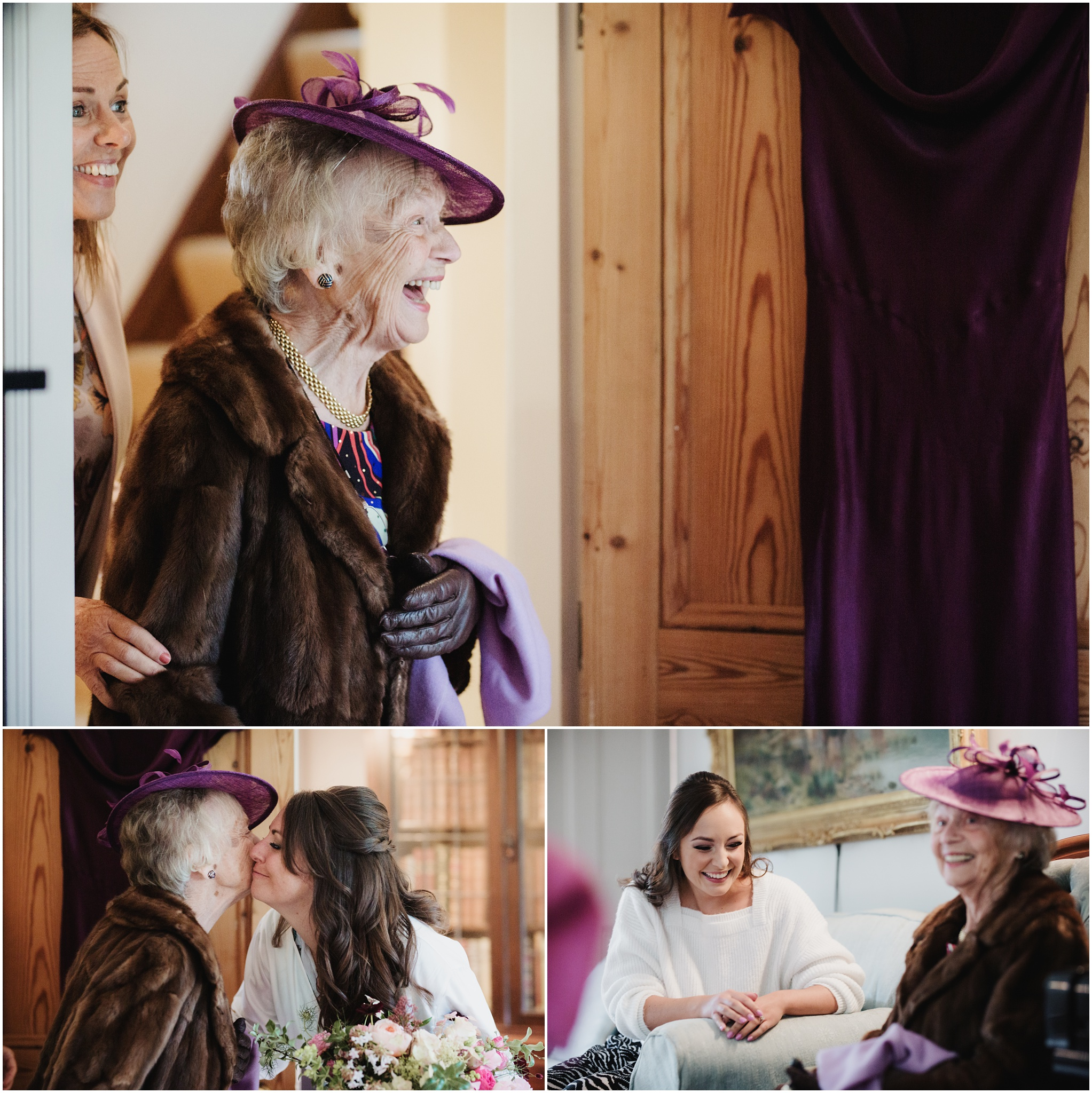 Brides nan walks into the room and greets grand daughters