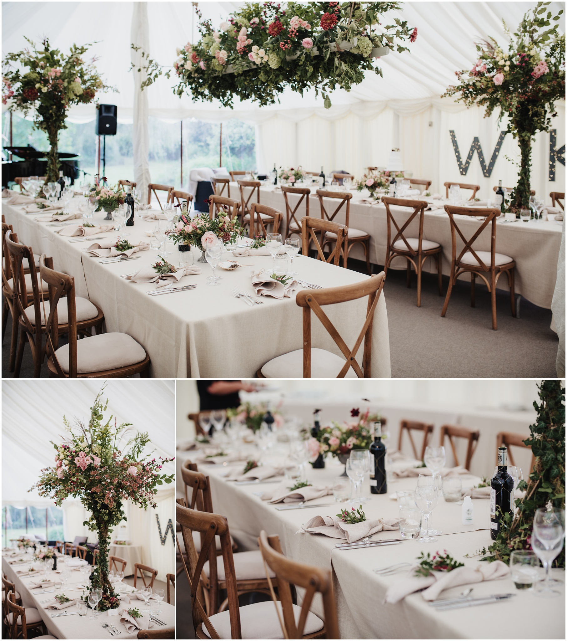 Wedding marquee table setup