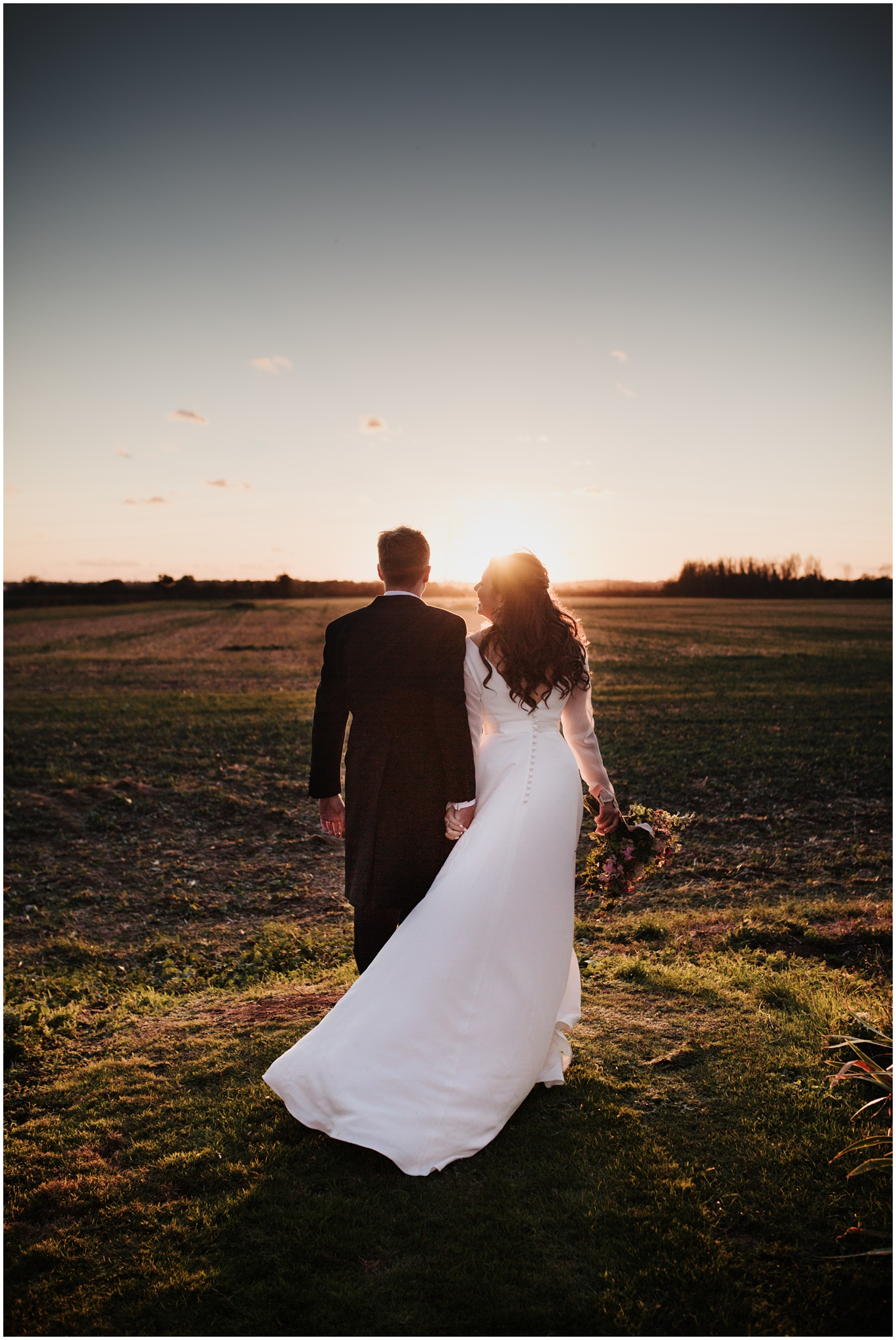Sunset image with bride and groom