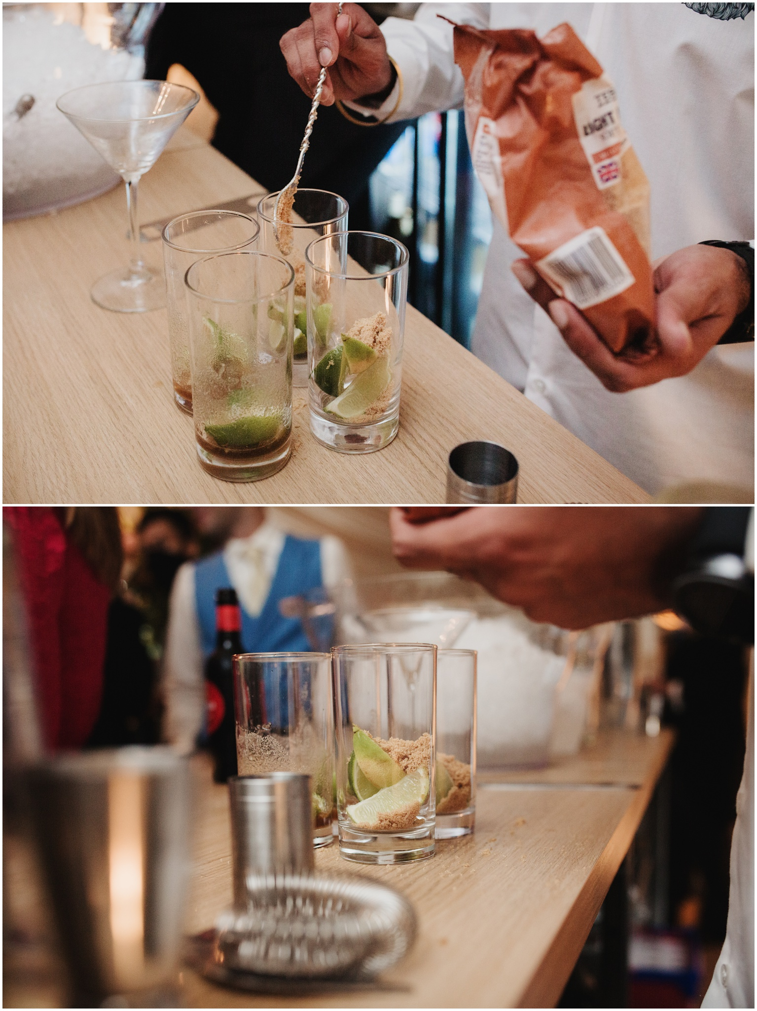 Cocktail drinks being served to guests