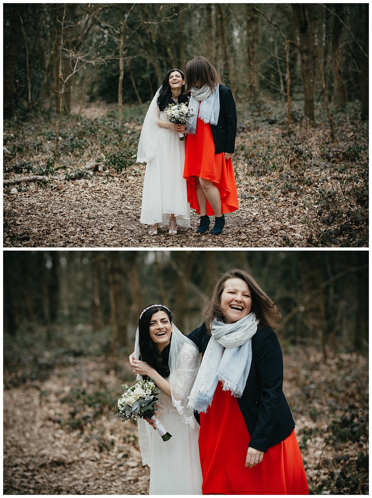 Bride and maid of honour laughing