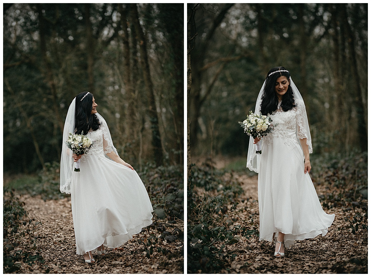 Portrait of the bride and in her wedding dress