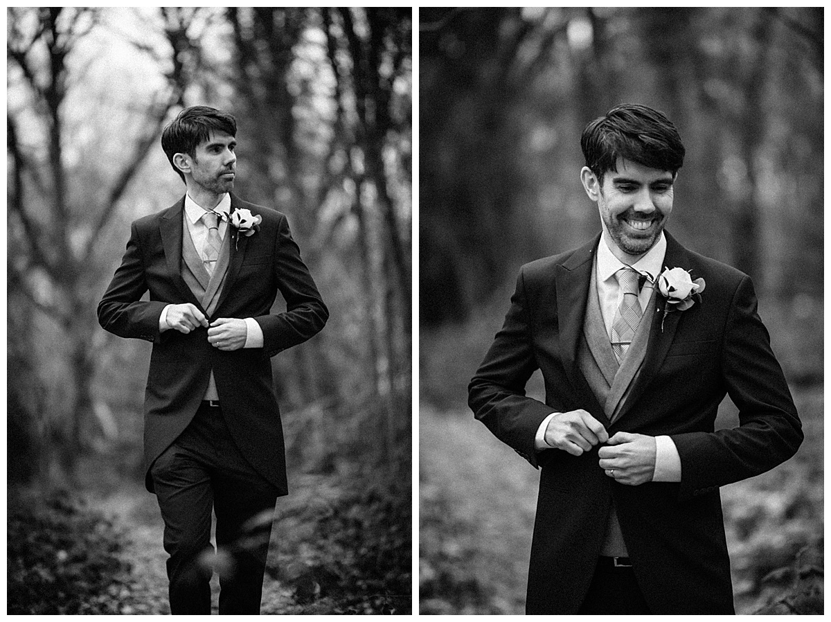 Portrait of the groom in black and white