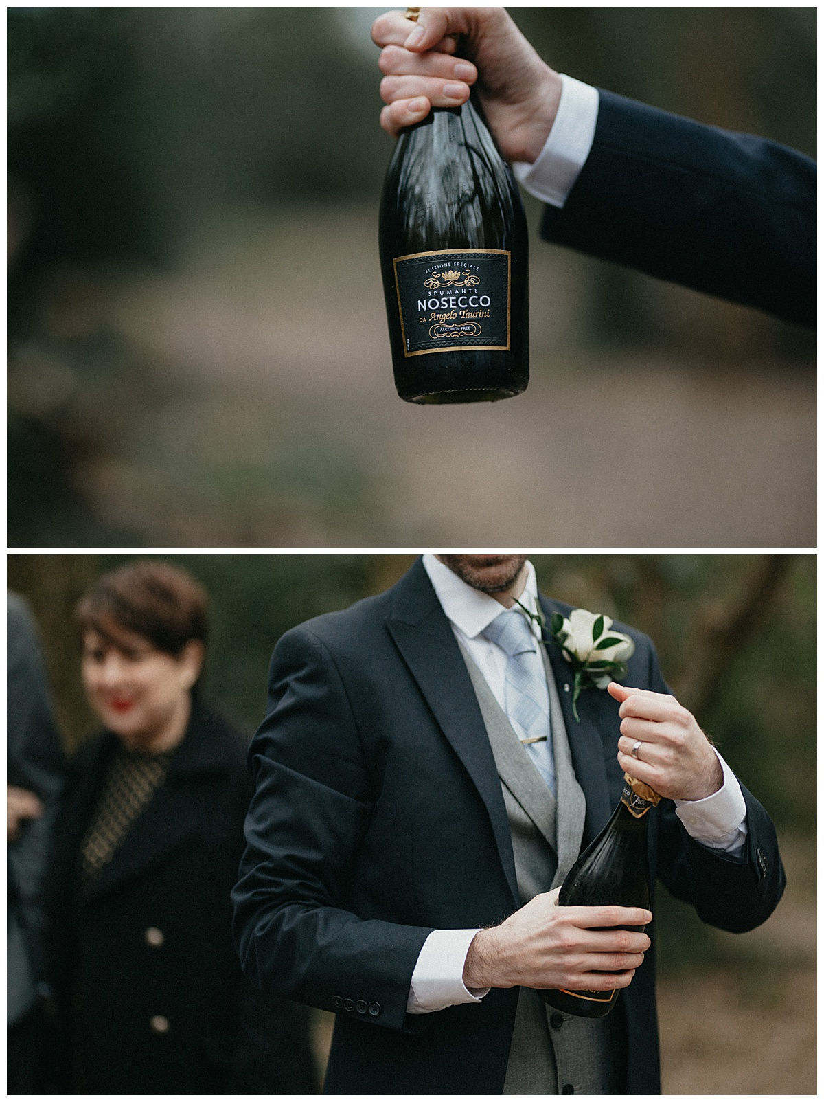 Groom opening champagne bottle