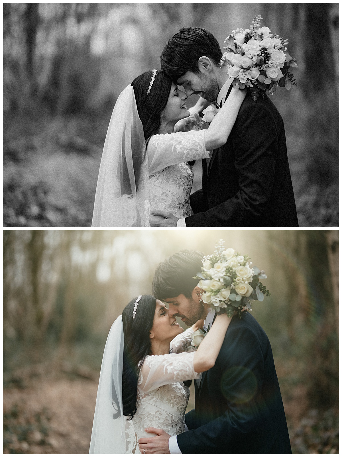 Bride and groom kiss and hold each other