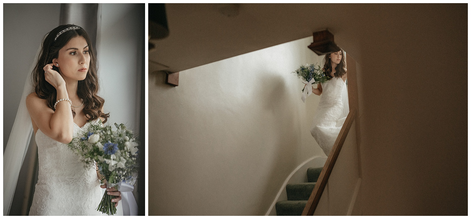 Wedding at Foxhills, Surrey Wedding Photographer - The bride ready and walking down the stairs