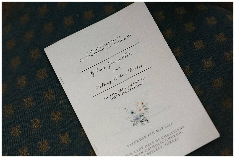Wedding at Foxhills, Surrey Wedding Photographer - The order of ceremony leaflet