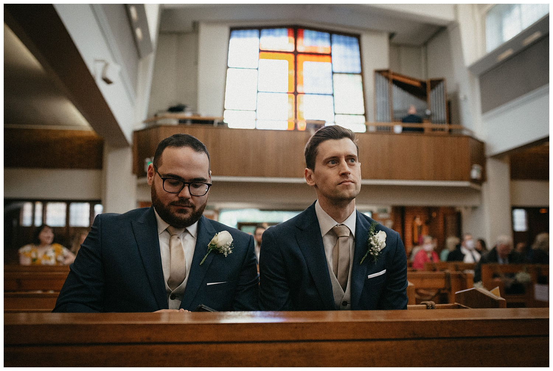 Wedding at Foxhills, Surrey Wedding Photographer - The nervous groom with best man