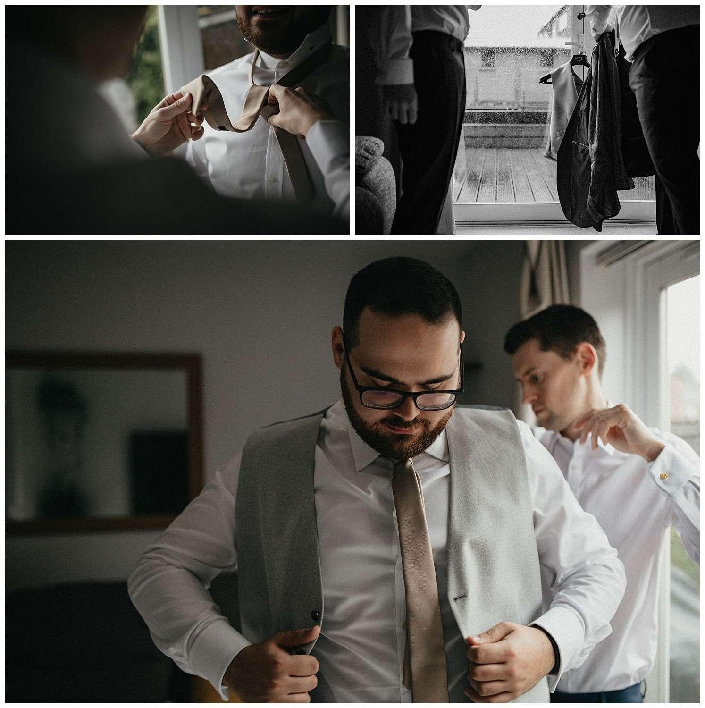 Wedding at Foxhills, Surrey Wedding Photographer - Best man getting ready