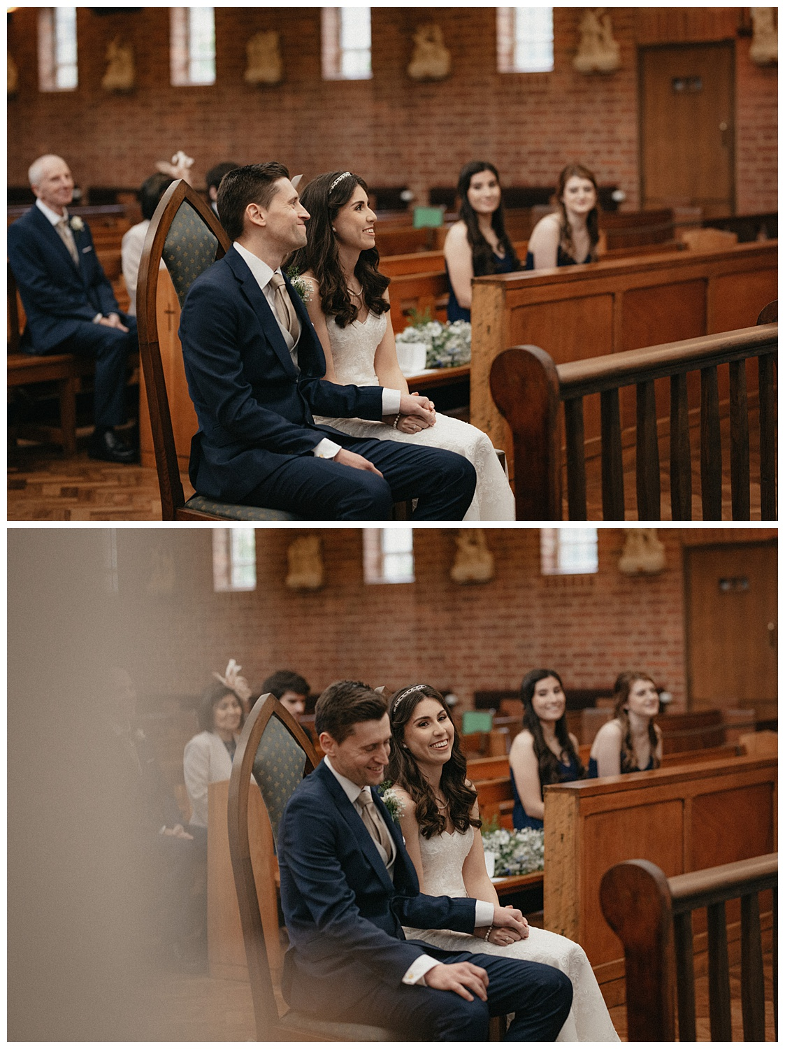 Wedding at Foxhills, Surrey Wedding Photographer - bride and groom sitting and laughing
