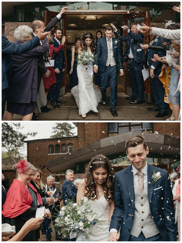 Wedding at Foxhills, Surrey Wedding Photographer - The confetti shot