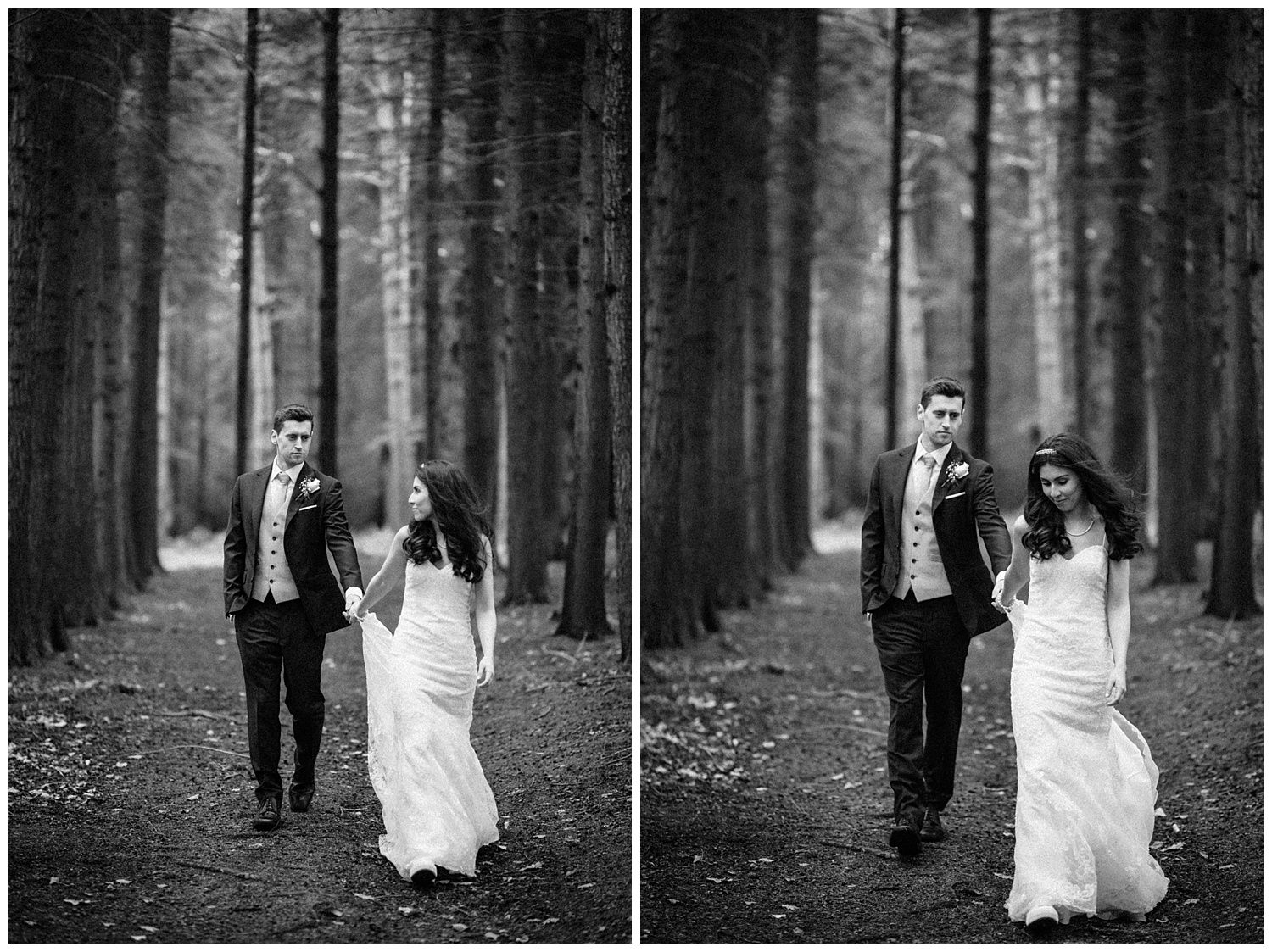 Wedding at Foxhills, Surrey Wedding Photographer - bride and groom walking in forest