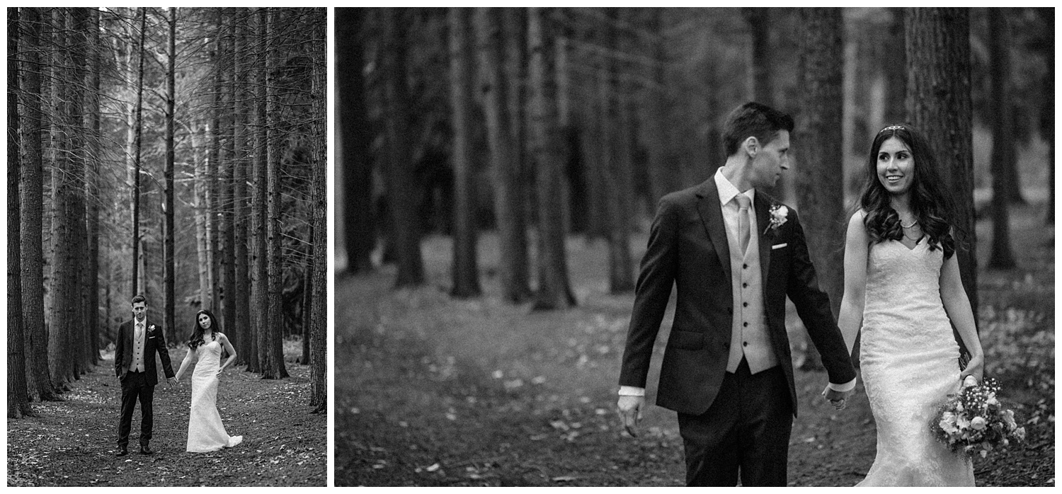 Wedding at Foxhills, Surrey Wedding Photographer - bride and groom walking and laughing