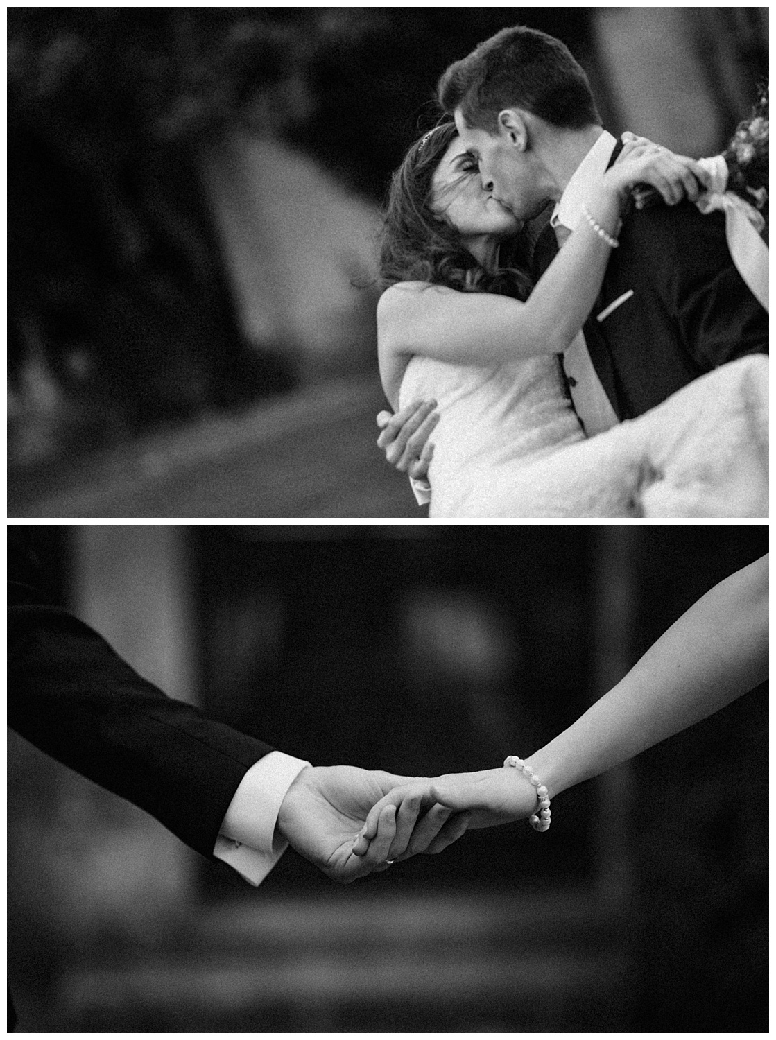 Wedding at Foxhills, Surrey Wedding Photographer - Bride and groom hold hands and kiss