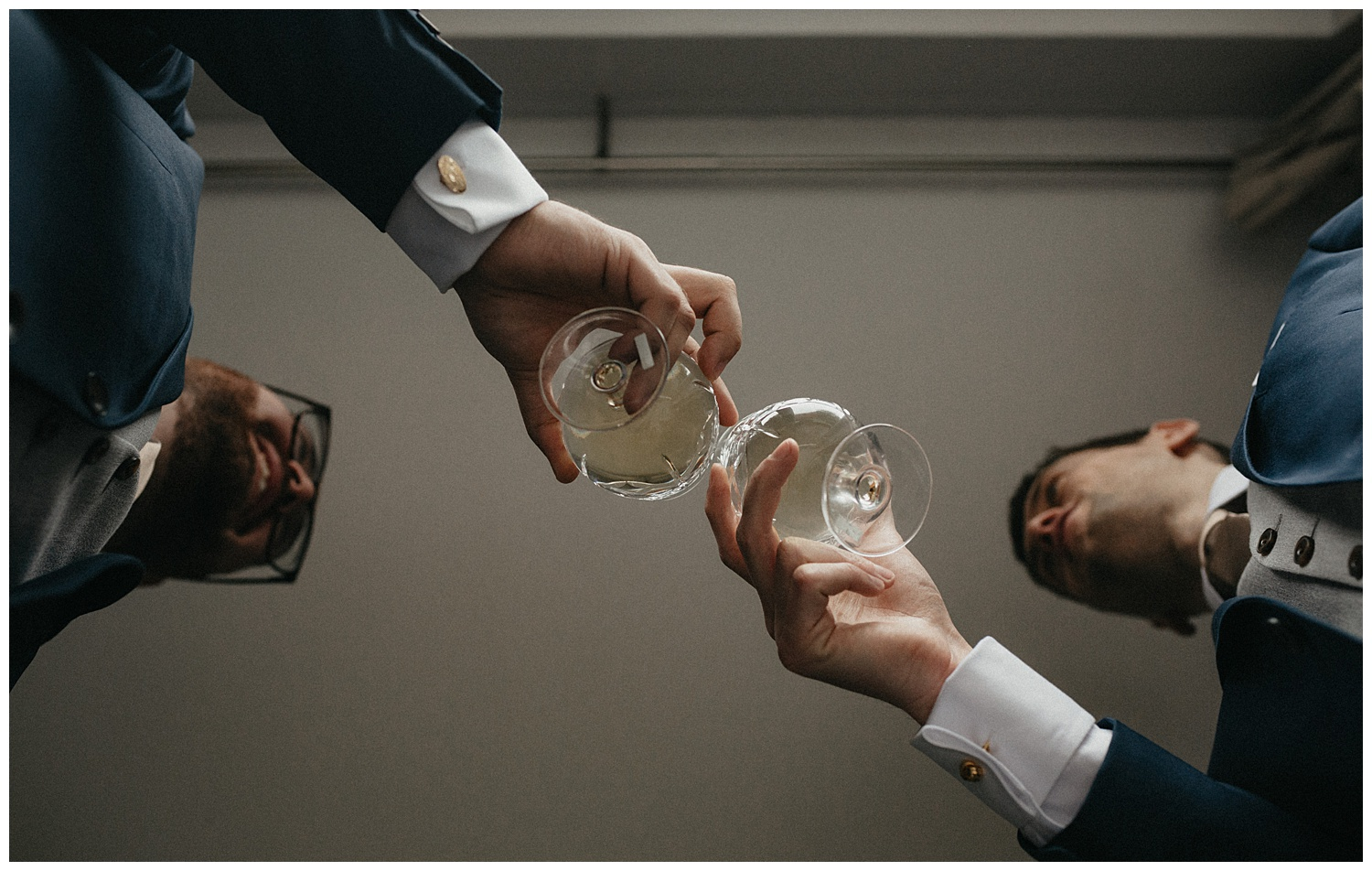 Wedding at Foxhills, Surrey Wedding Photographer - Cheers with whisky glasses