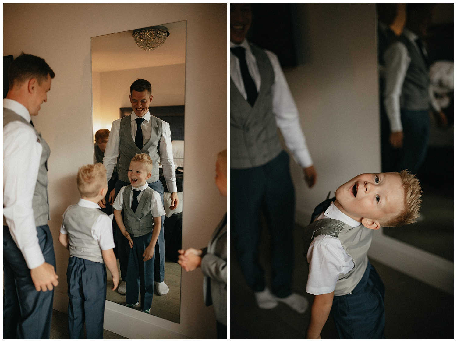 Weddings-at-Crondon-Park-the-groomsmen-laugh-in-the-mirror