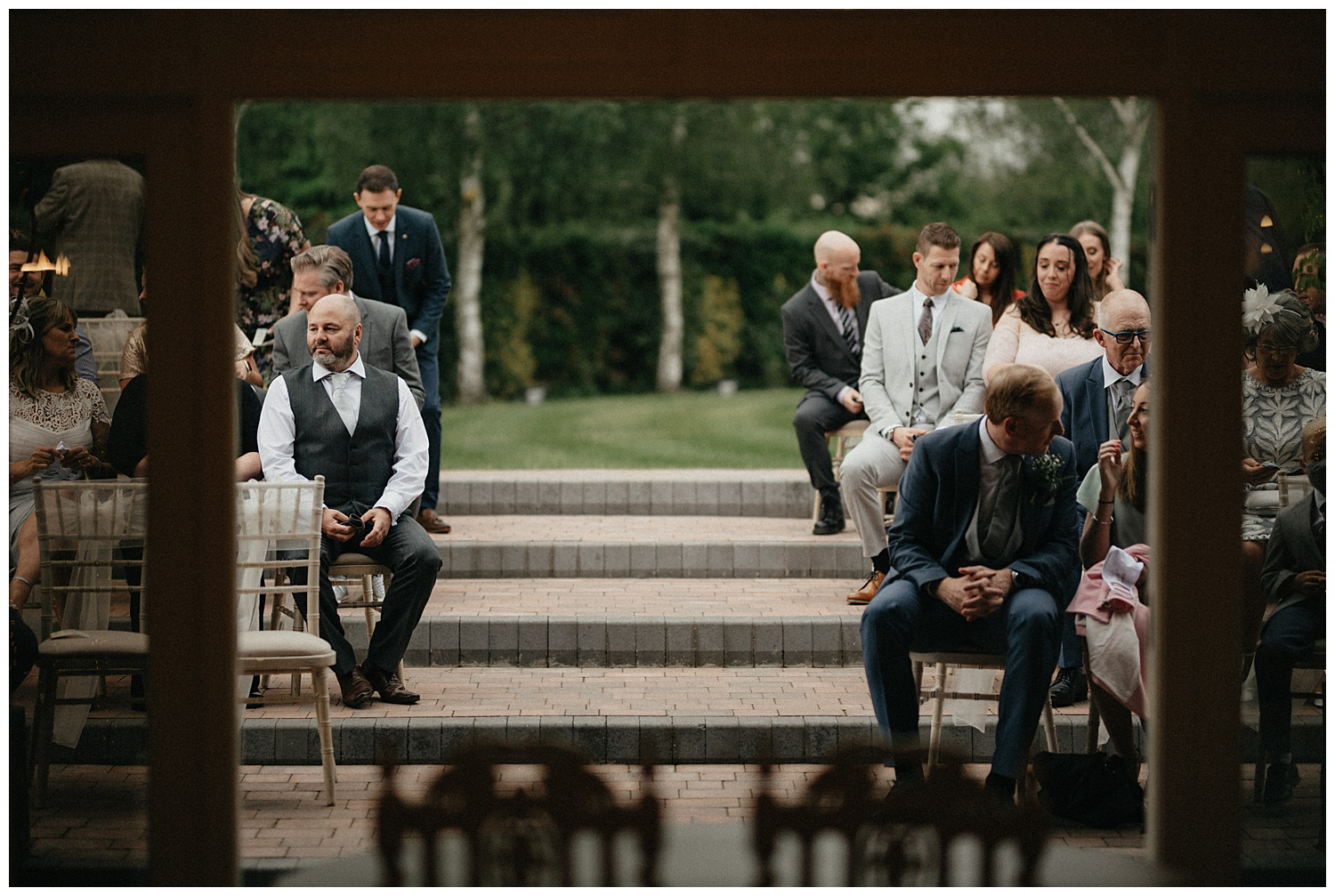 Weddings-at-Crondon-Park-the-wedding-guests-seated