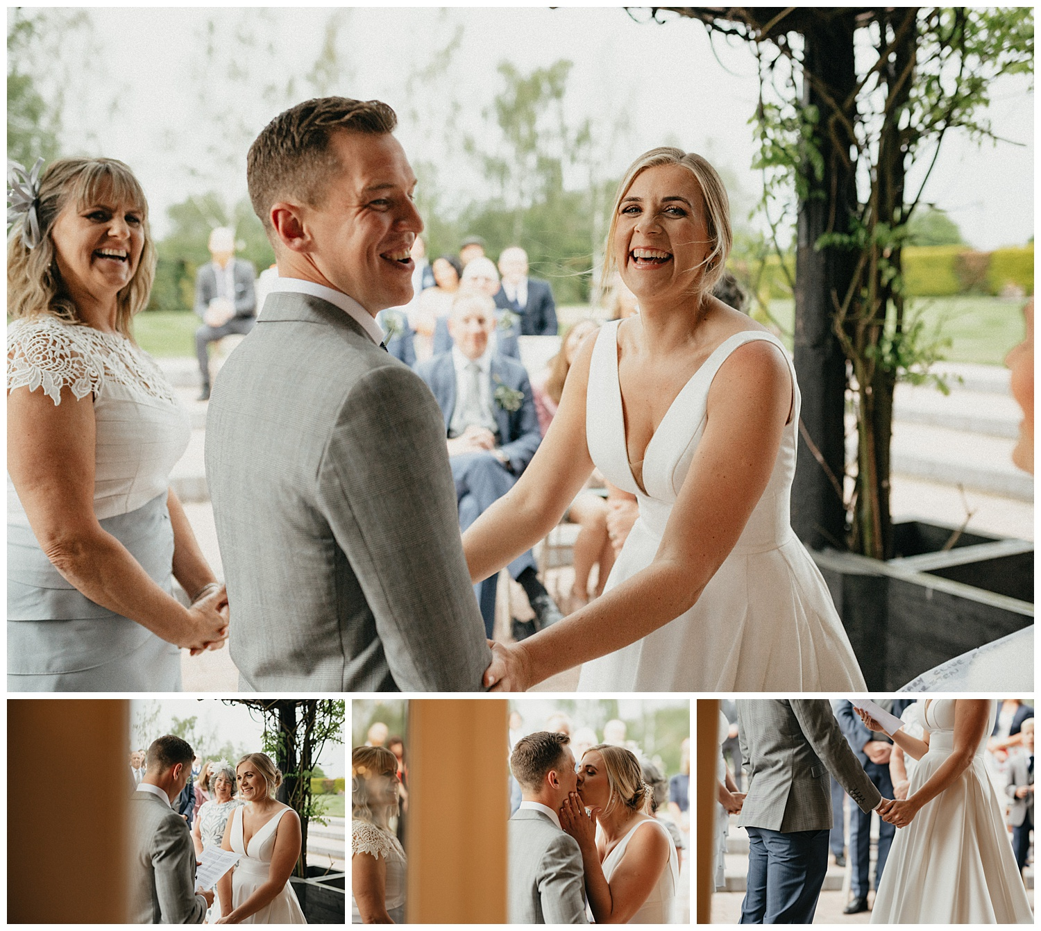 Weddings-at-Crondon-Park-the-bride-and-groom-laugh-and-kiss