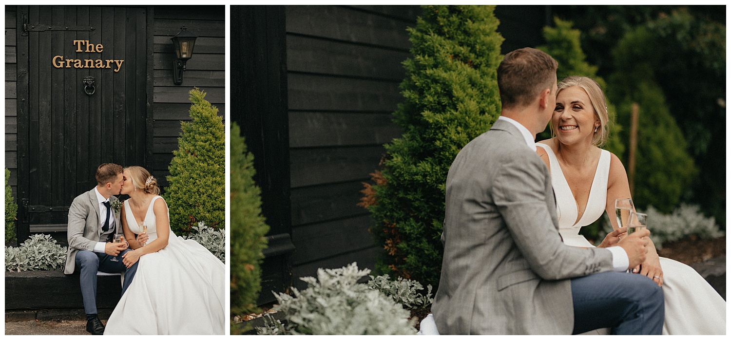 Weddings-at-Crondon-Park-bride-and-groom-sit-and-laugh