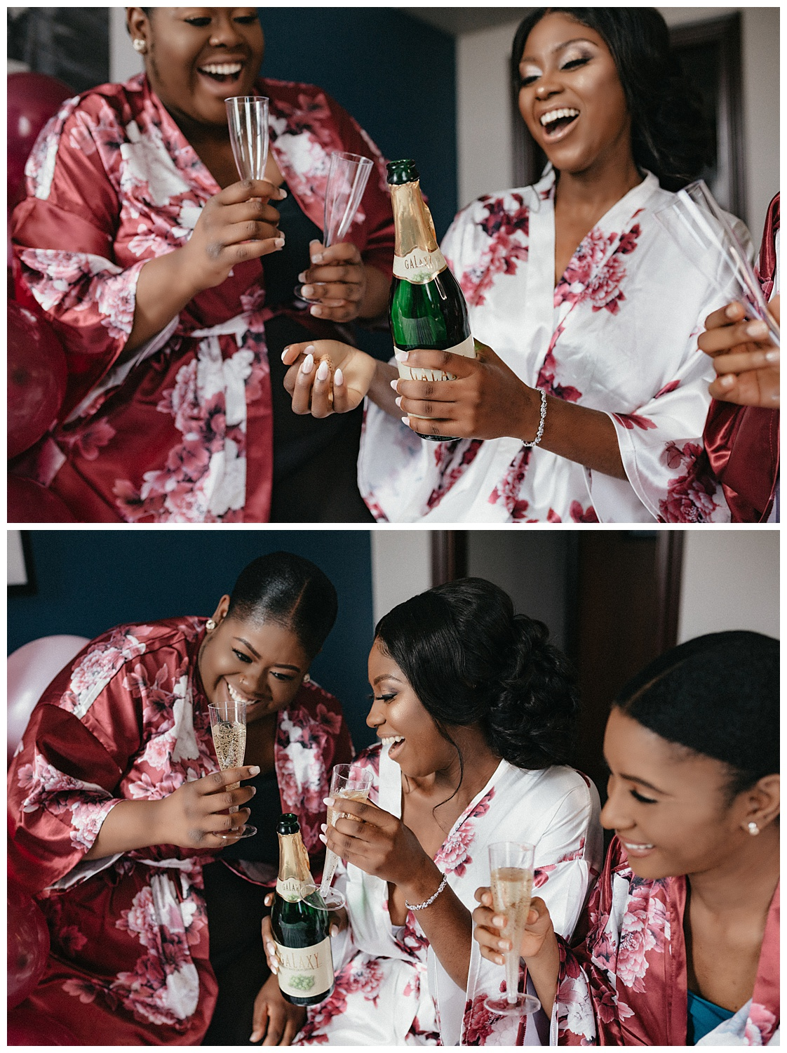 Bridesmaids drink champagne with the bride