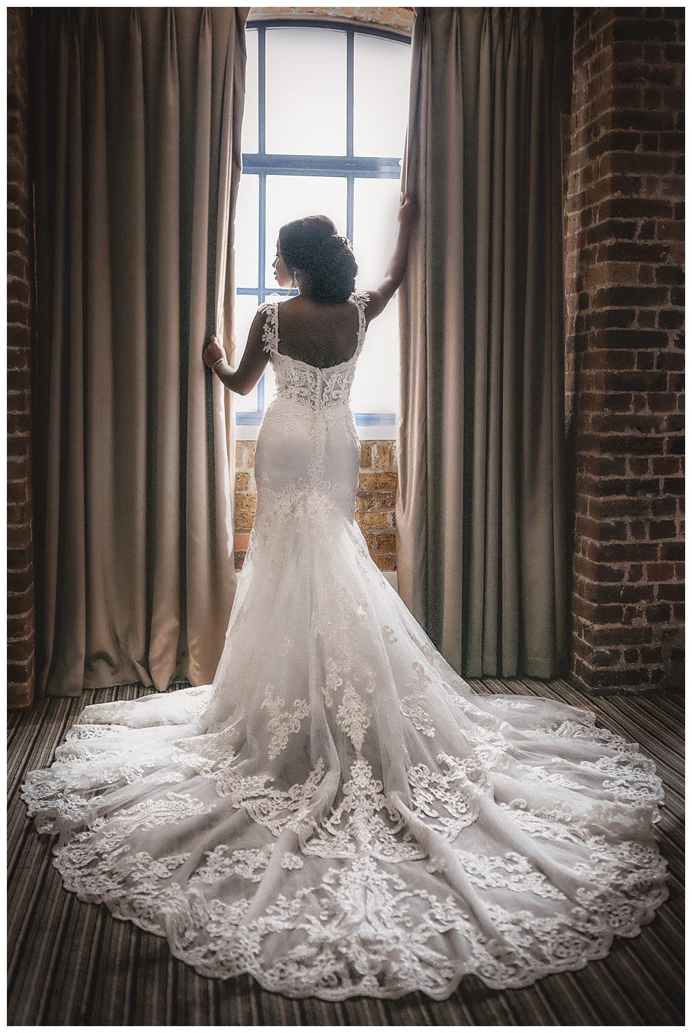 The back of the wedding dress worn by the bride