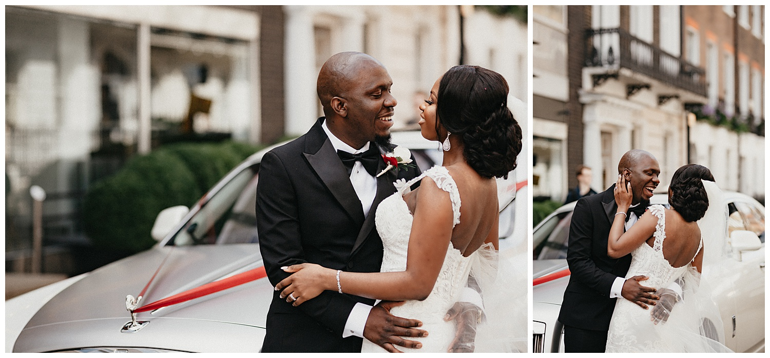 London Wedding Photographer - The couple cuddle up next to their car